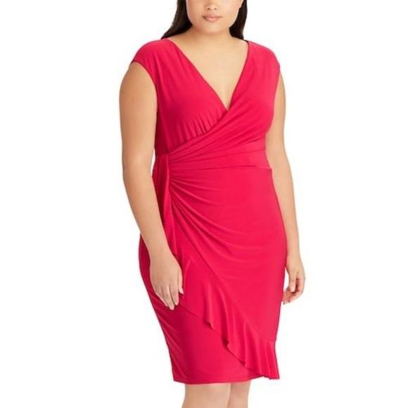 3222b32471 Plus Size Chaps Ruffled Faux-Wrap Dress
